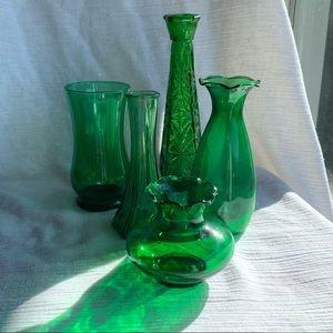 Vintage 5 Anchor Hocking Emerald Green Vases